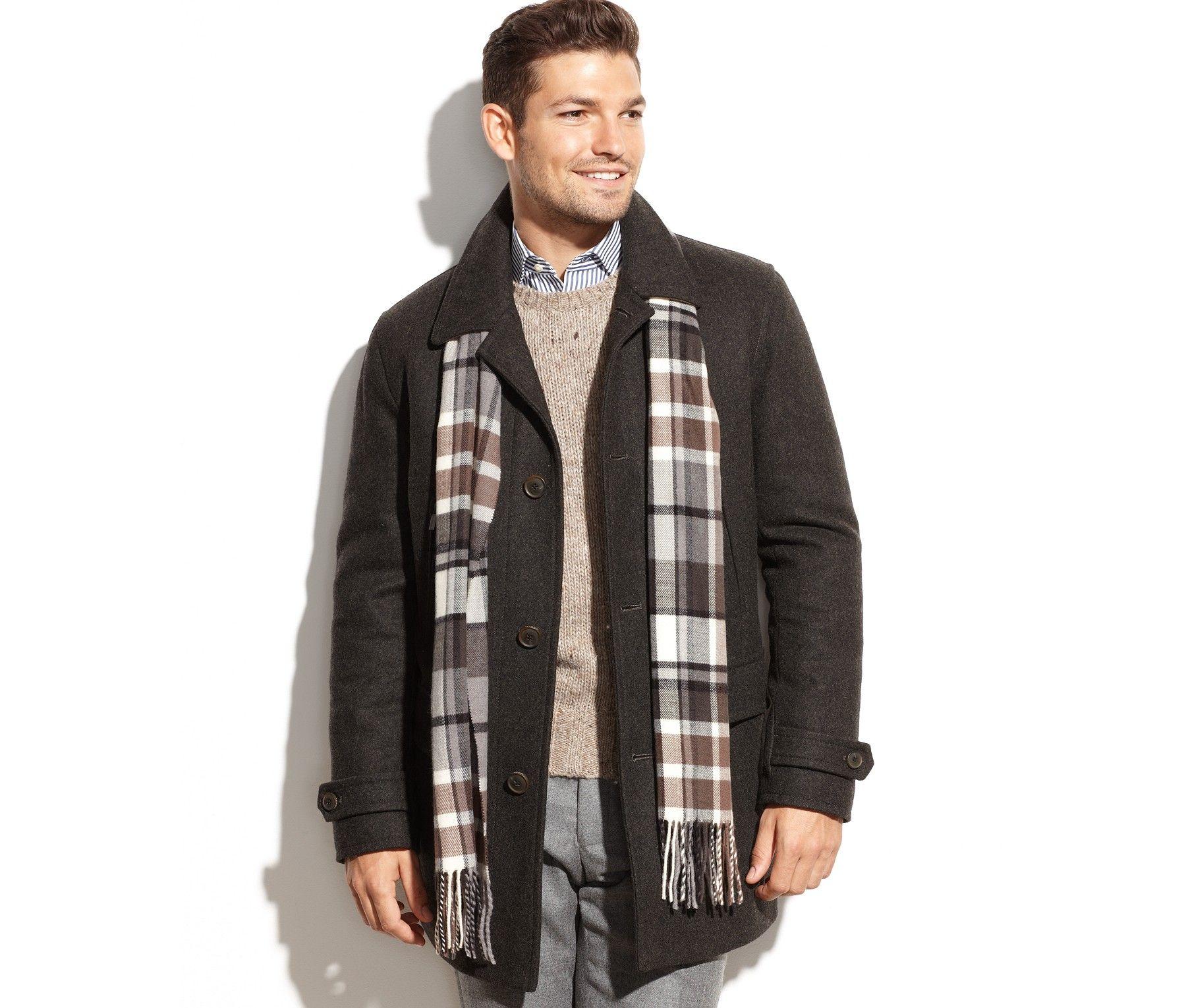 Michael Michael Kors Craig Wool-Blend Car Coat with Scarf - Coats & Jackets - Men - Macy's