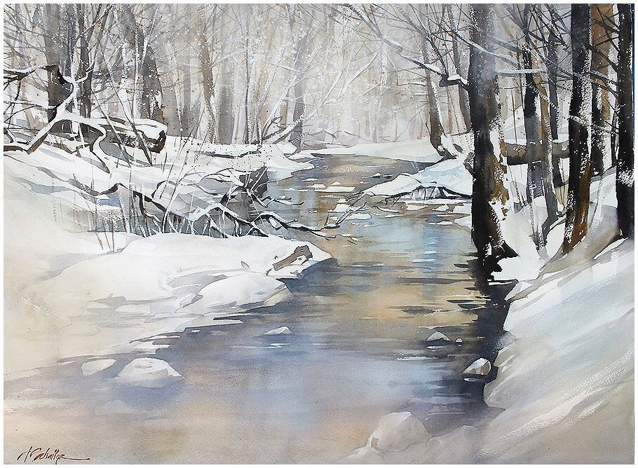 Watercolor Winter Painting Painting Snow Landscape Paintings