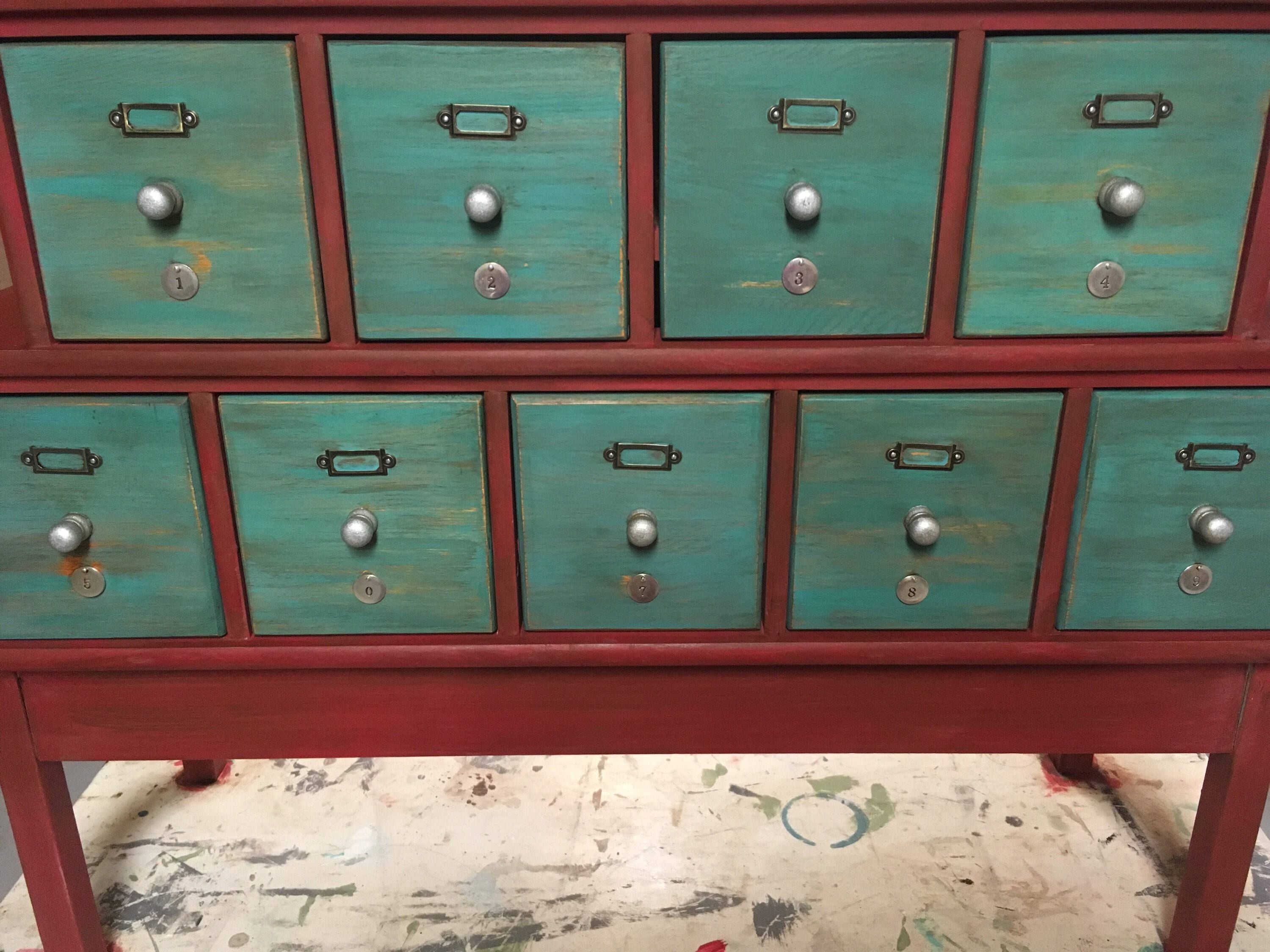 So much fun to repurpose this CD cabinet into a farmhouse apothecary