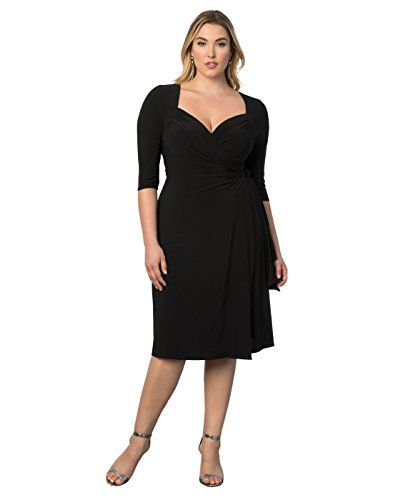Kiyonna Women s Plus Size Sweetheart Knit Wrap Dress 2x Black Noir