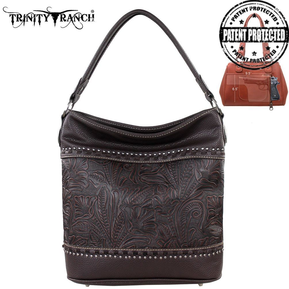 Montana West TR20G-916 Trinity Ranch Tooled Concealed Carry Handbag