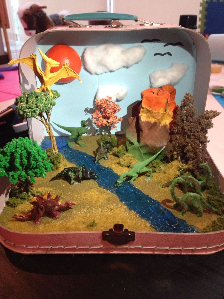 Scrapbook ideas school project - Dinosaur Habitat World Project