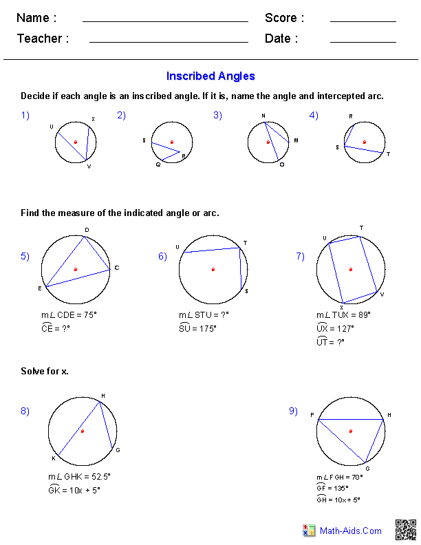 Inscribed Angles Worksheets | Math-Aids.Com | Pinterest | Angles ...
