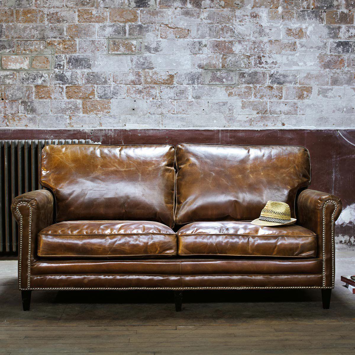 canapé cuir vieilli marron Bing