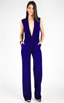 Sleeveless Jumpsuit With Plunging Lapels Neckline Royal Blue
