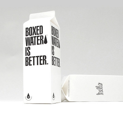 Part Sustainable, part art project, part philanthropic project and completely curious this is the Boxed water project, beautifully designed packaging.