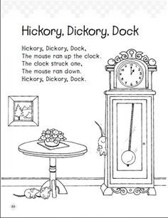 Hickory Dickory Dock Vintage Coloring Pages Google Search