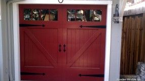Red Garage Door With Board And Batten Red Garage Door Barn Style Garage Doors Diy Garage Door
