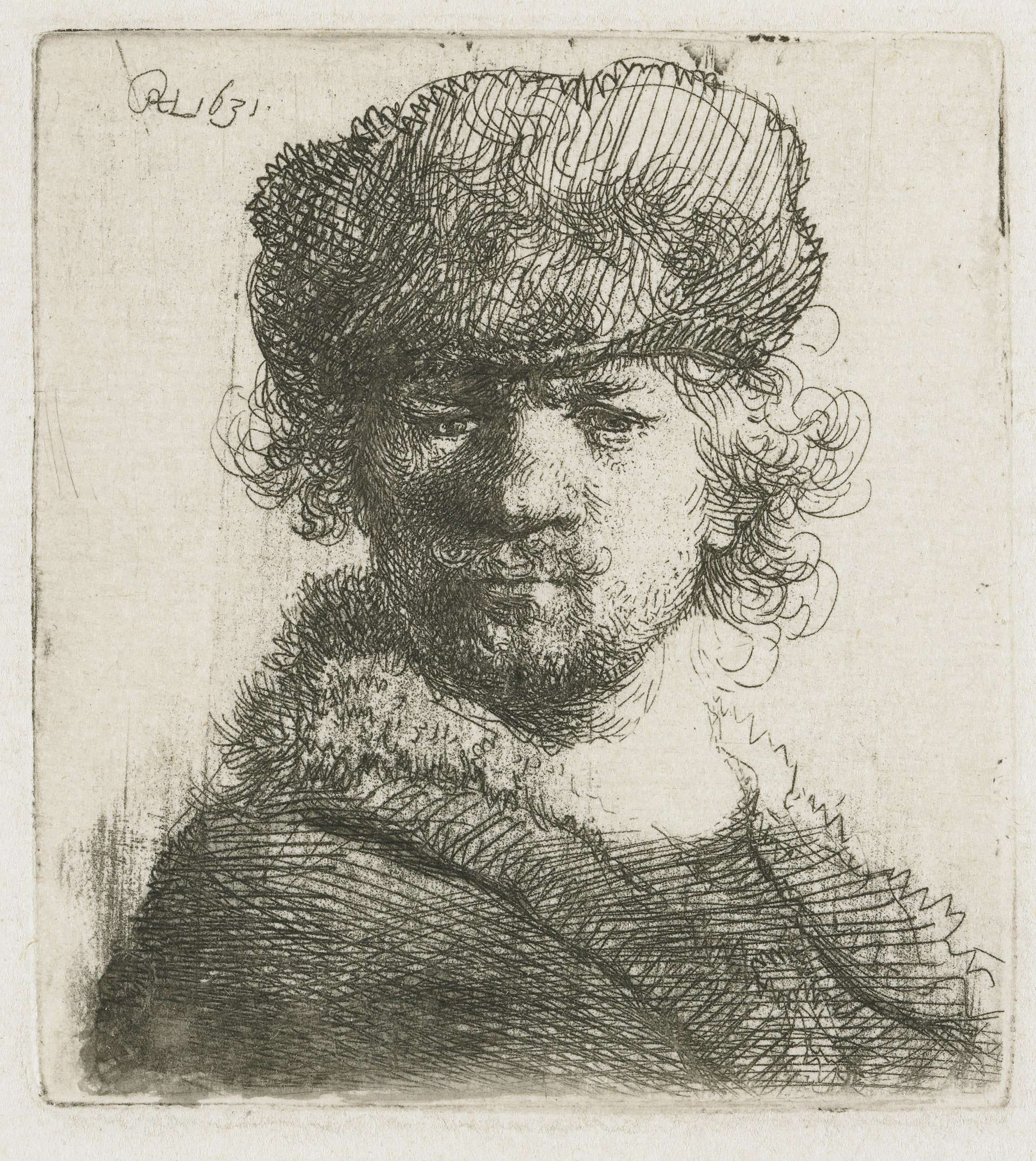 Автопортрет в меховой шапке и шубе (1631) (63 х 57 мм) (офорт). Rembrandt Harmensz van Rijn (1606-1669)