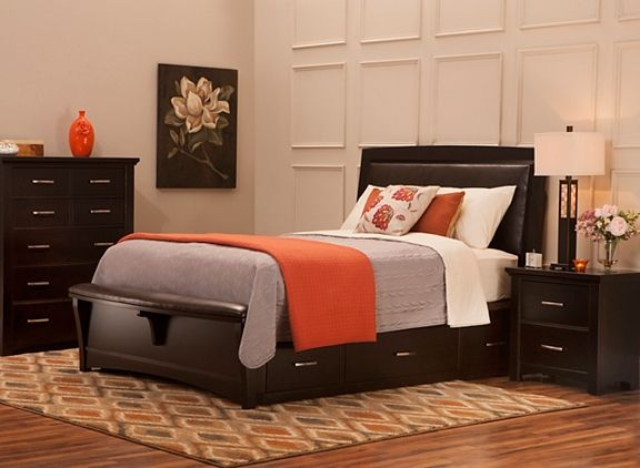 Crest Hollow 4 Pc Queen Platform Bedroom Set W Storage Bed Bedroom Sets Raymour And