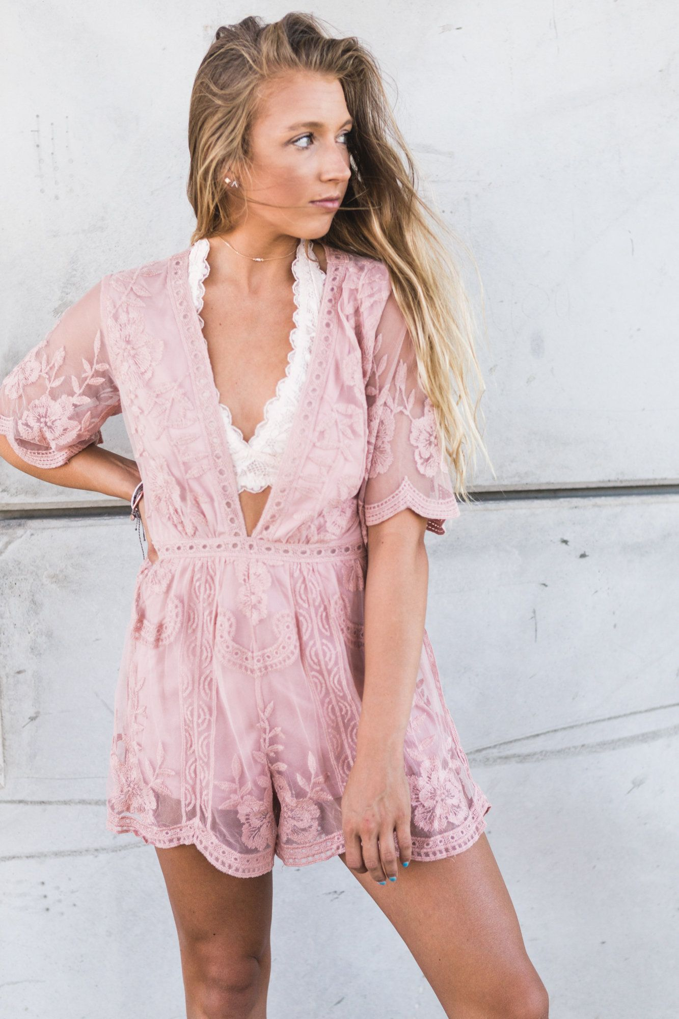 Make Me Blush Lace Romper available at ada-ivy.com for $54.00 | moda ...