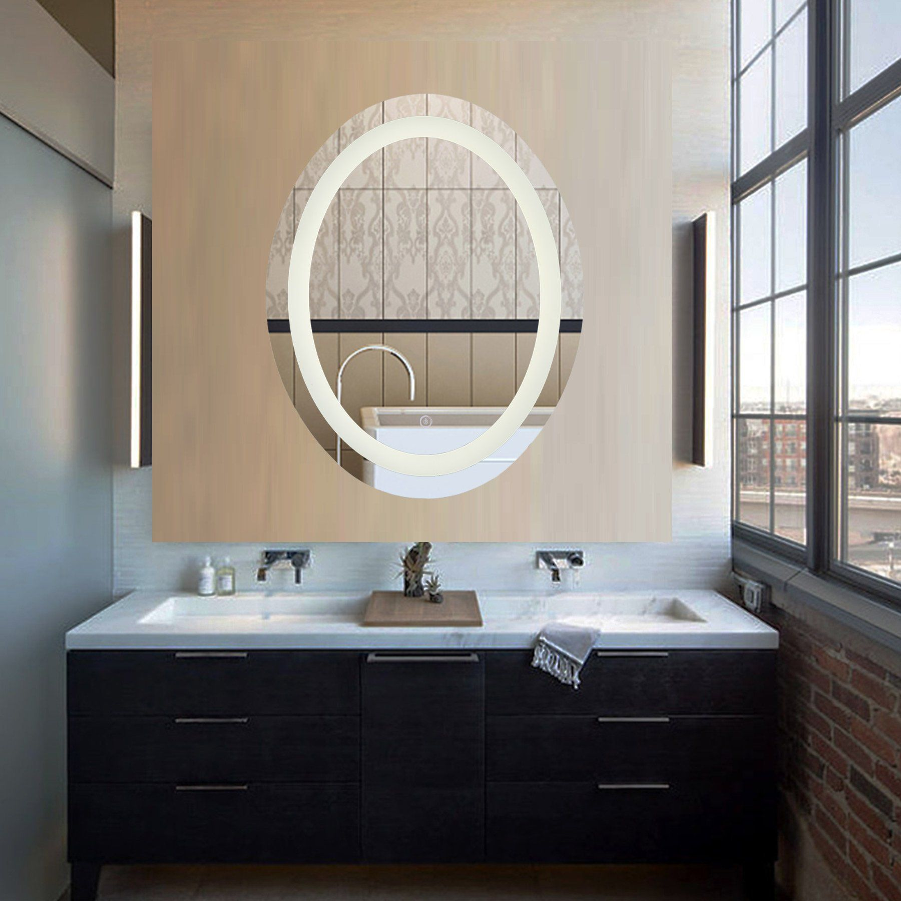 Coz Dimmable Oval Led Lighted Bathroom Mirror Modern Wall Mirror