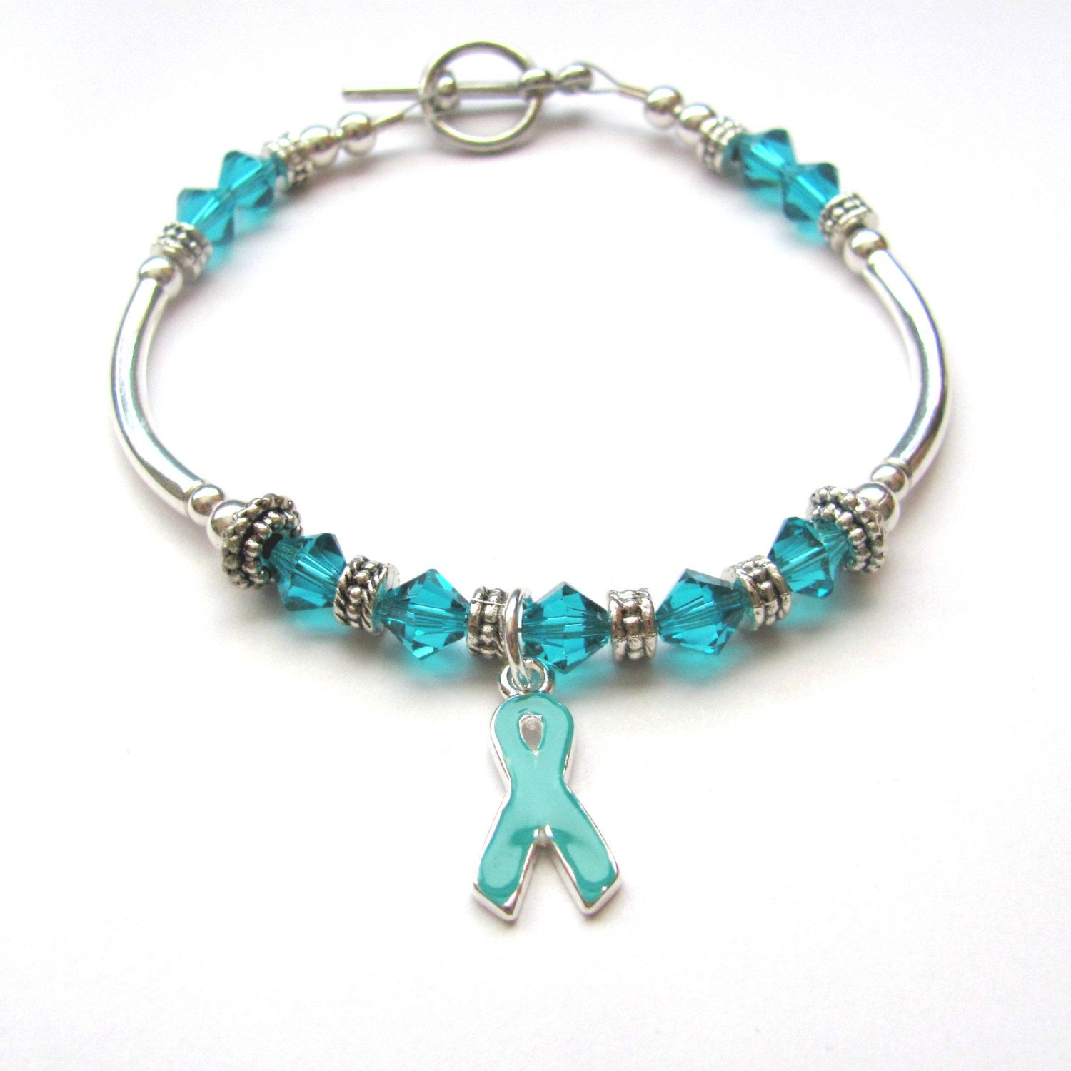 awareness teal ovarian ribbon pin hope bracelet cancer gravis more myasthenia