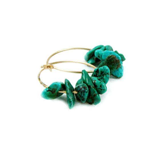 Turquoise Hoop Earrings Gold Filled Hoops by laurenblythedesigns, $22.00