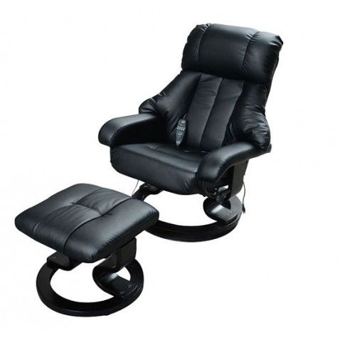 homcom recliner massage chair with ottoman foot stool black 15