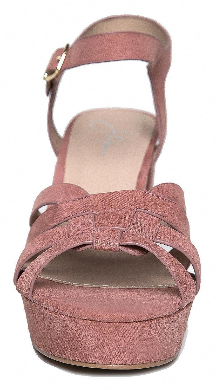 285f43cc5ae Womens Platform Ankle Strap Low Heel - Chunky Open Toe Shoe Casual Basic  Block Sandal -