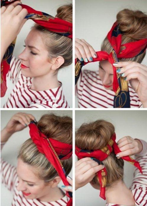20 Increíbles Peinados Con Pañuelos Que Te Harán Lucir Hermosa Este Verano Scarf Hairstyles Hair Styles Hairstyles For Thin Hair