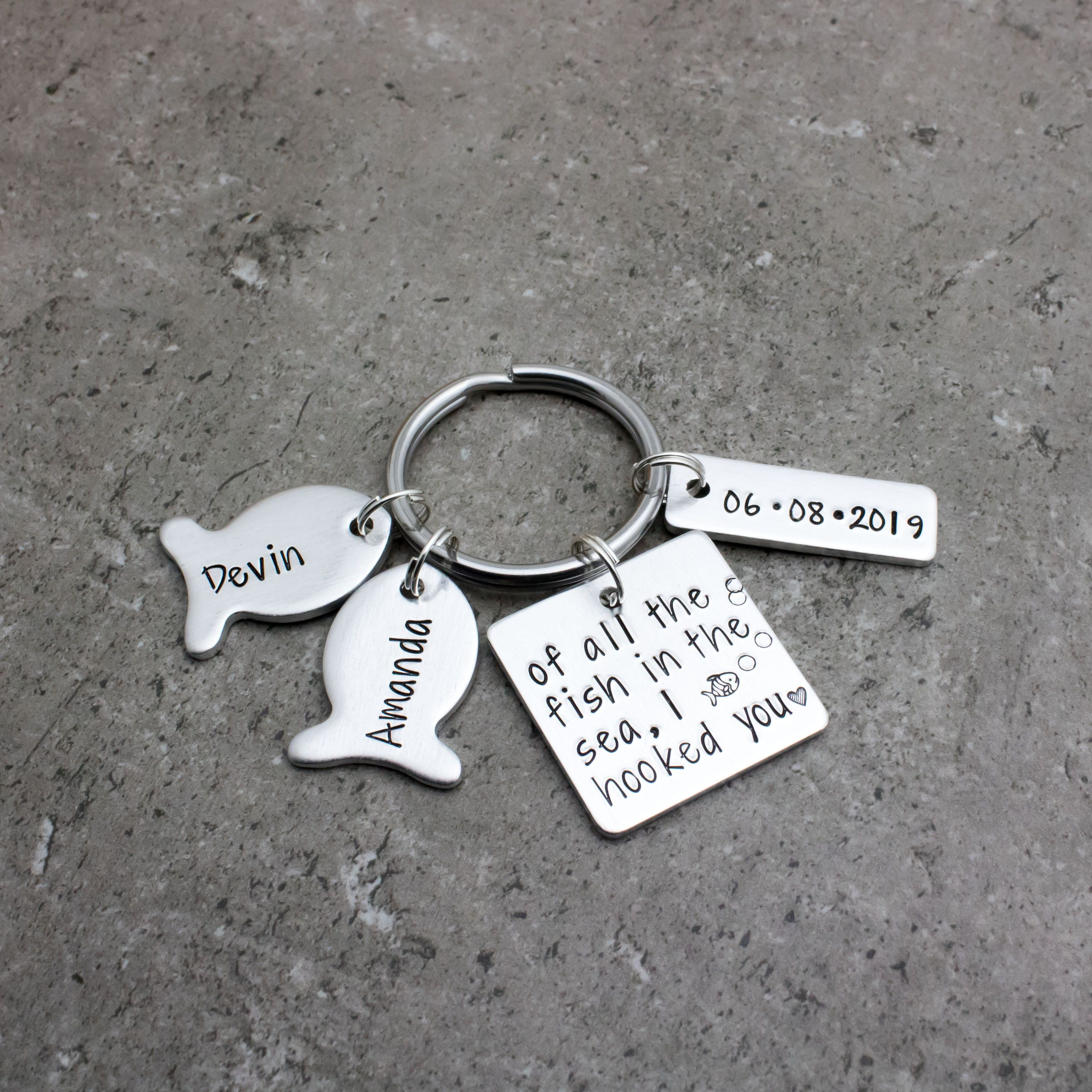 Wedding Anniversary Date Keychain With Names Of All The