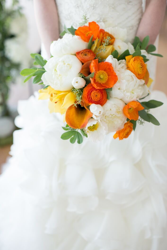 Orange and White Bridal Bouquet