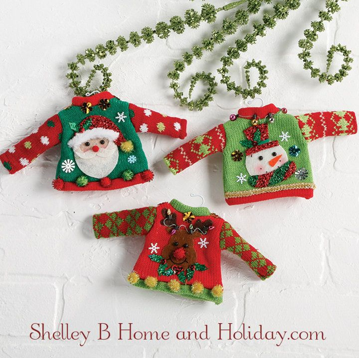 Ugly Christmas Sweater Ornament Set. Find More Sweater