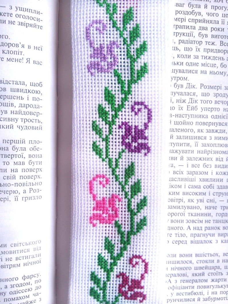 Bookmark – Hand Embroidery Flowers – Unique Gift for Book Lover – Cross Stitch