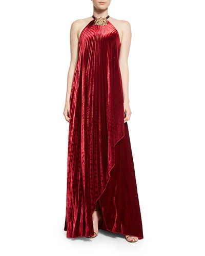 B3EMG Ralph Lauren Collection Pamela Fluid Velvet Plisse Halter Gown ...