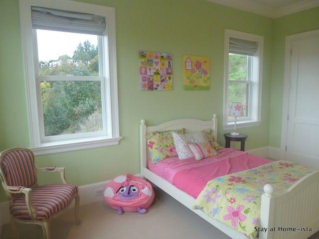 I like the pale green walls Little Girls butterfly bedroom is