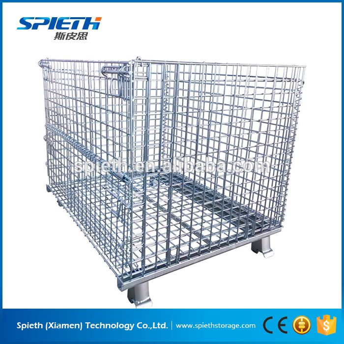 collapsible warehouse container mesh boxes wire cage metal bin ...