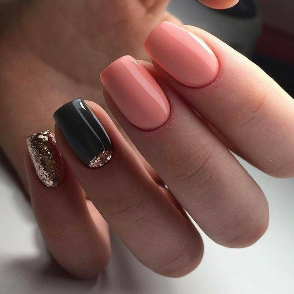 Peach And Black Nails Gold Glitter Nails Gel Nails Trendy Nails Pretty Nails Trendy Nail Art
