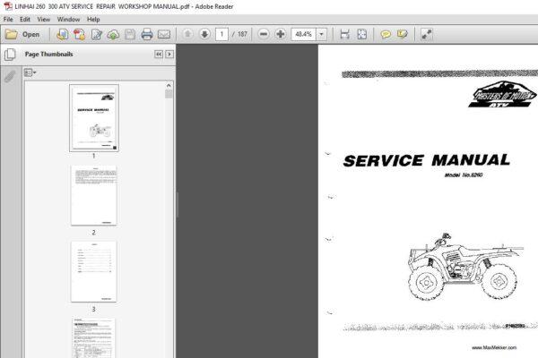 Linhai 260 300 Atv Workshop Service Repair Manual Pdf Download In 2020 Repair Manuals Repair Manual