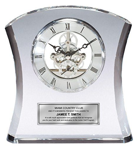 Tower Da Vinci Crystal Clock With Silver Dial And Engraving Plate Personalized Desk As Wedding Gift Retirement Employee Service Awards