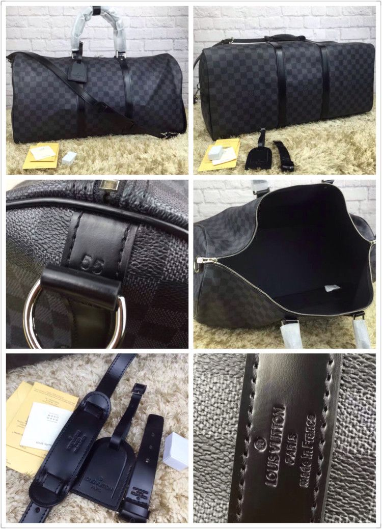 ddca8c9e0 Best high quality aaa replica louis vuitton keepall bandoulière 55 damier  graphite travel luggage N41413