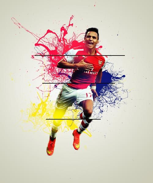 Alexis sanchez photography manipulation graphic design for Arsenal mural wallpaper