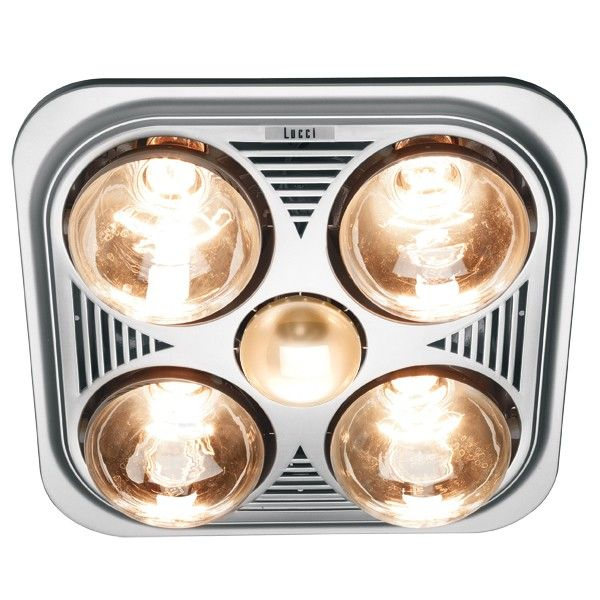 Thermalite 3 in 1 Bathroom Heater in Silver with 4x275W Heat Lamps
