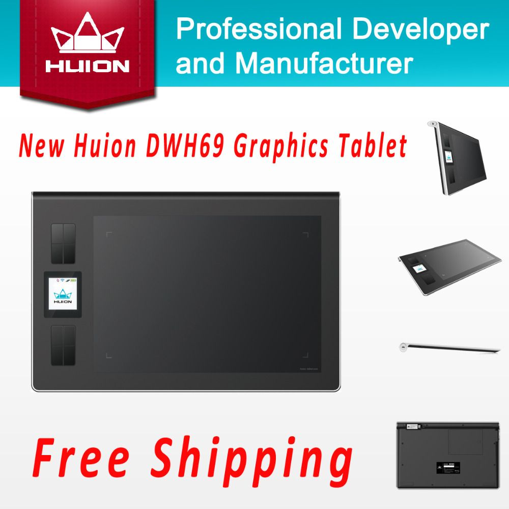 Promotion New Huion Dwh69 Wireless Lcd Screen Graphic Tablet Kids