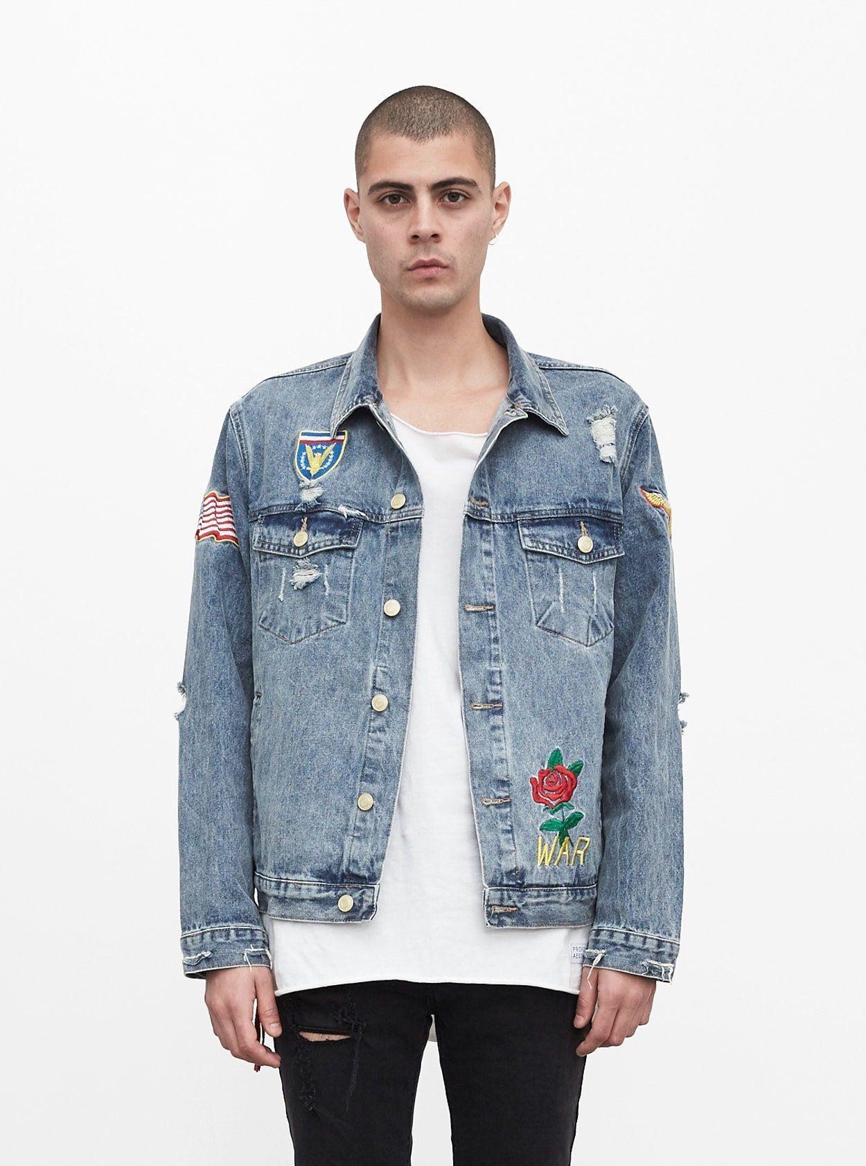 Distressed Rose Patch Denim Jacket Blue Denim Jacket Mens Rose Patch Denim Denim Jacket Patches [ 1682 x 1250 Pixel ]