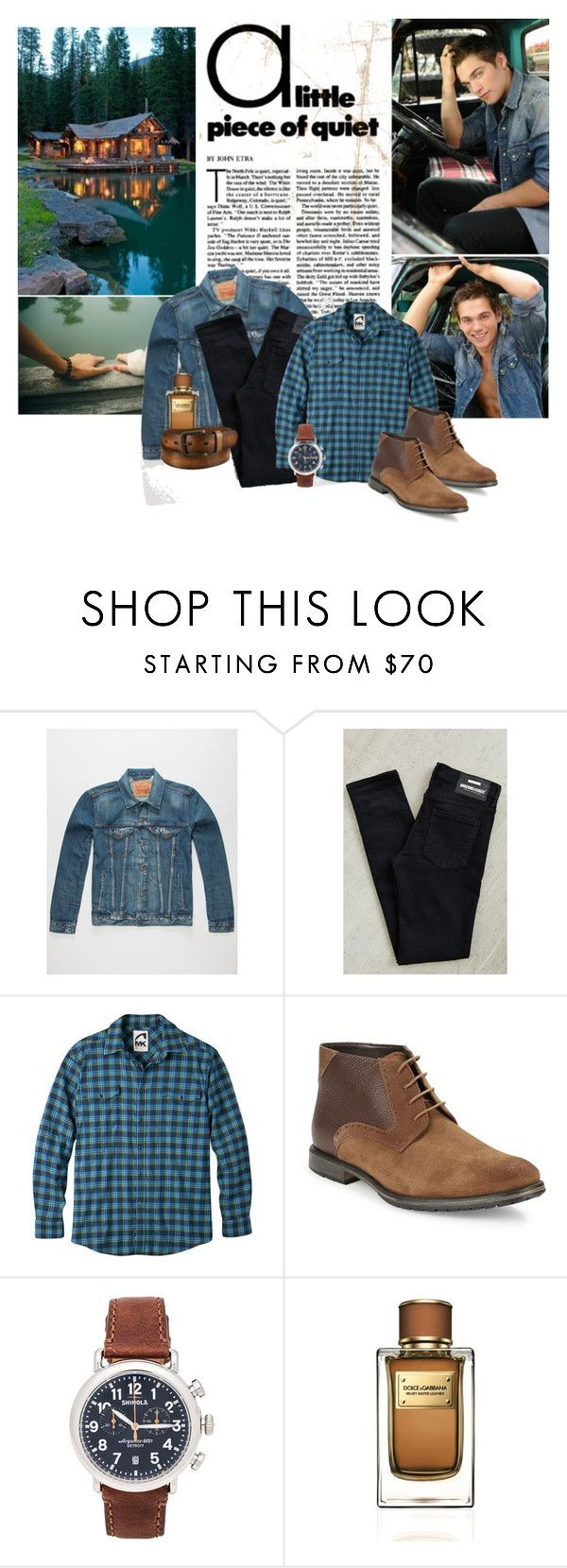 """""""Dylan"""" by ildica-33 ❤ liked on Polyvore featuring Levi's, Dr. Denim, Mountain Khakis, BLACK BROWN 1826, Shinola, Dolce&Gabbana, Uniqlo, mens, men and men's wear"""