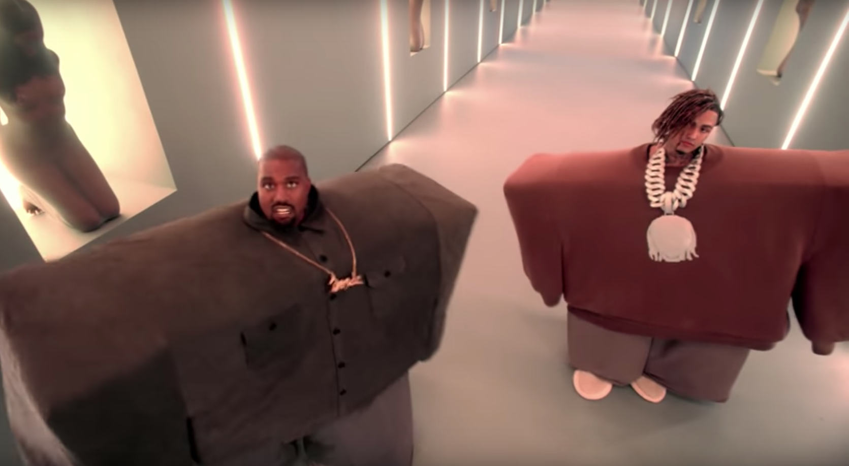 Kanye West Lil Pump Get Raunchy In Cartoonish I Love It Video Lil Pump Kanye West Celebrity Inspired Outfits