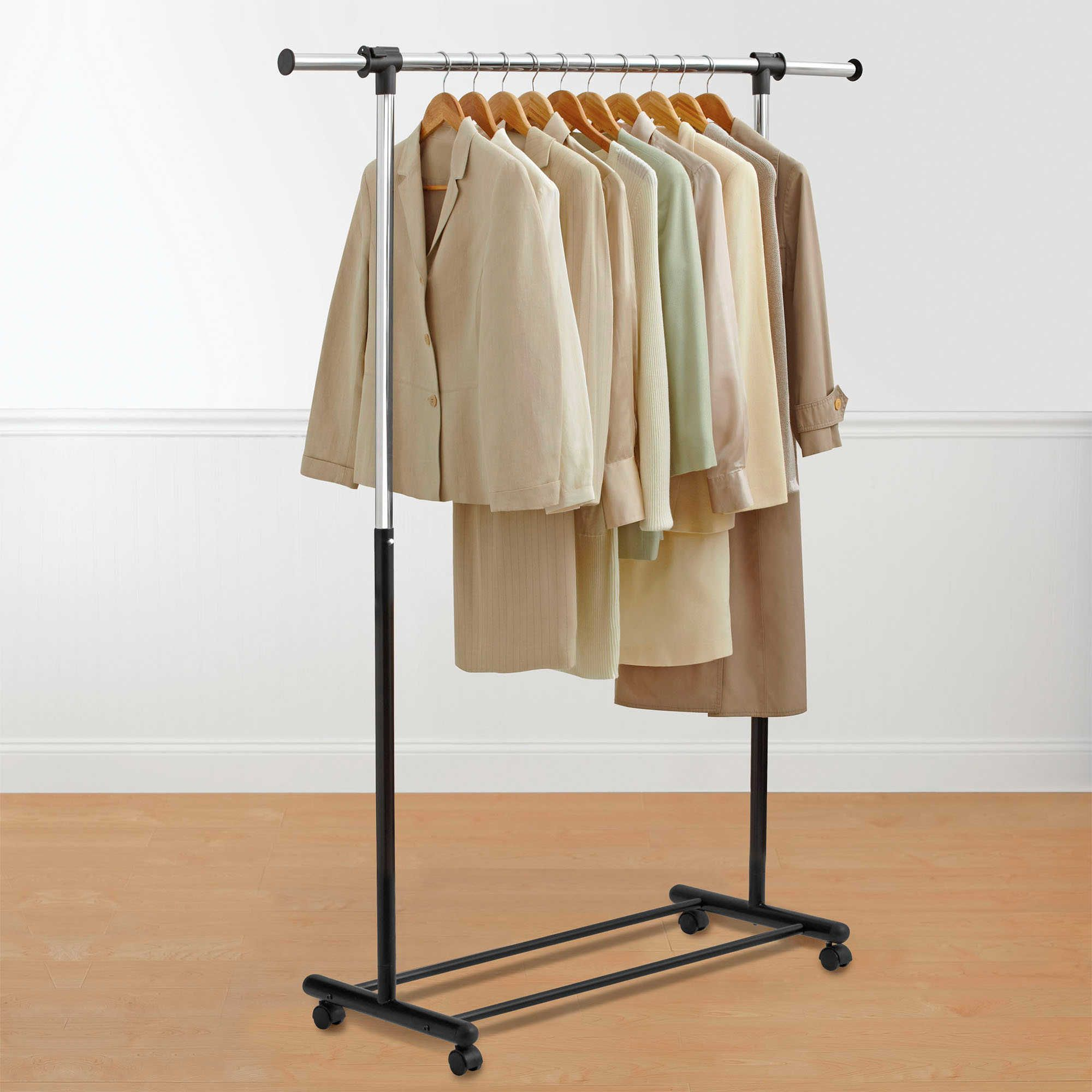 Bed Bath And Beyond Garment Rack Pleasing Portable And Expandable Garment Rack In Blackchrome  Garment Racks Review