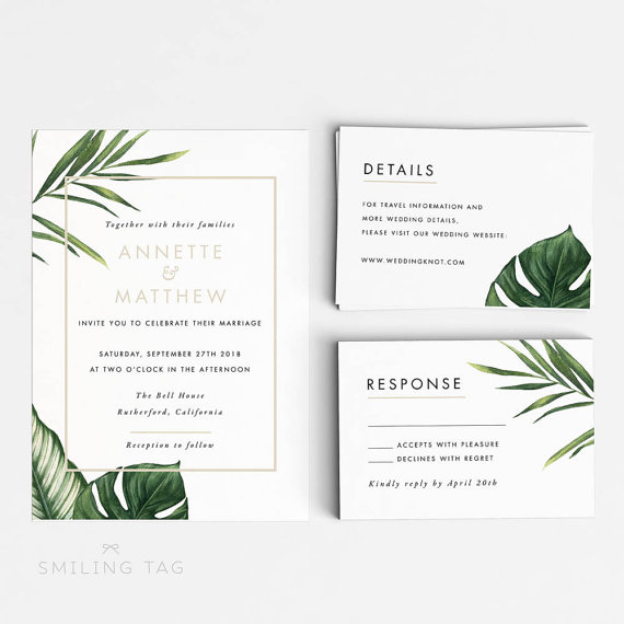 Printable Wedding Invitation Printable Set  Modern Tropical