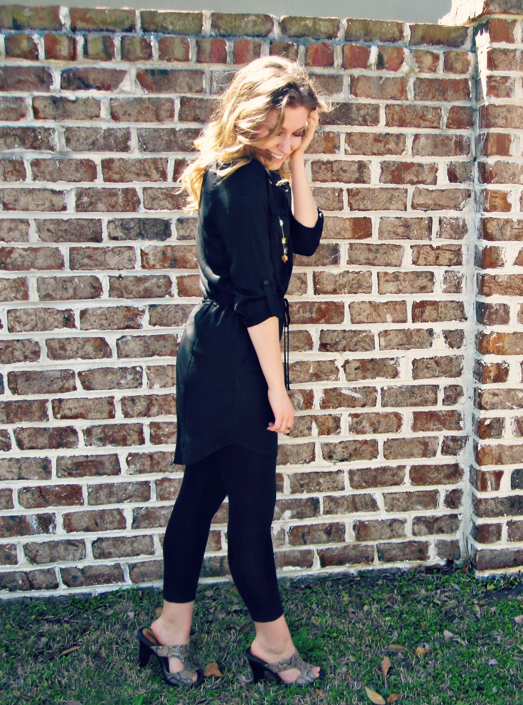 Little Black Shirt Dress + Cuffed Leggings #fashion