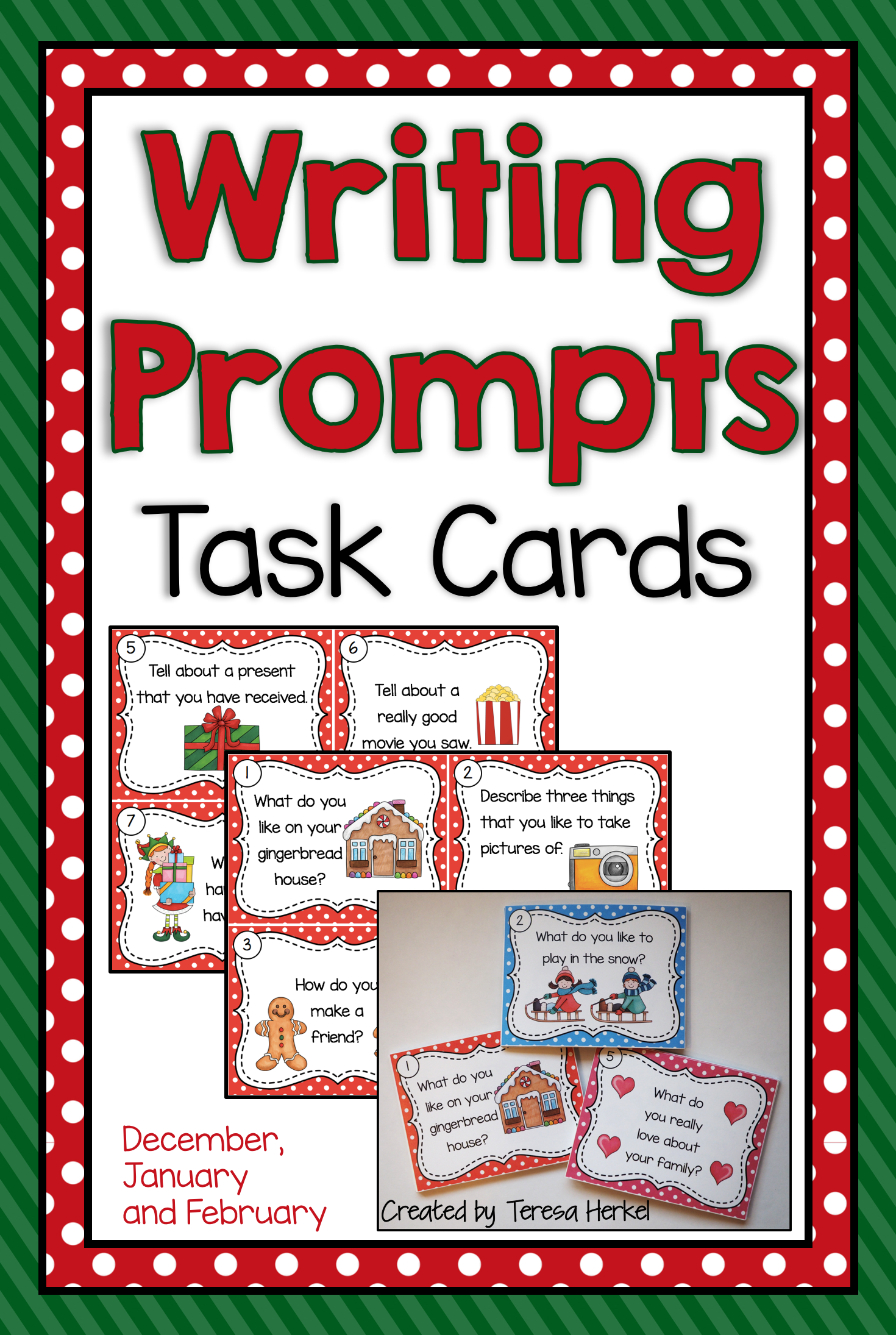 Writing Prompts Task Cards For December January And