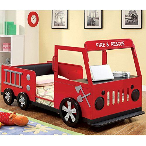 Metal Finish Fire Truck Design Youth Twin Size Bed Frame | Projects ...