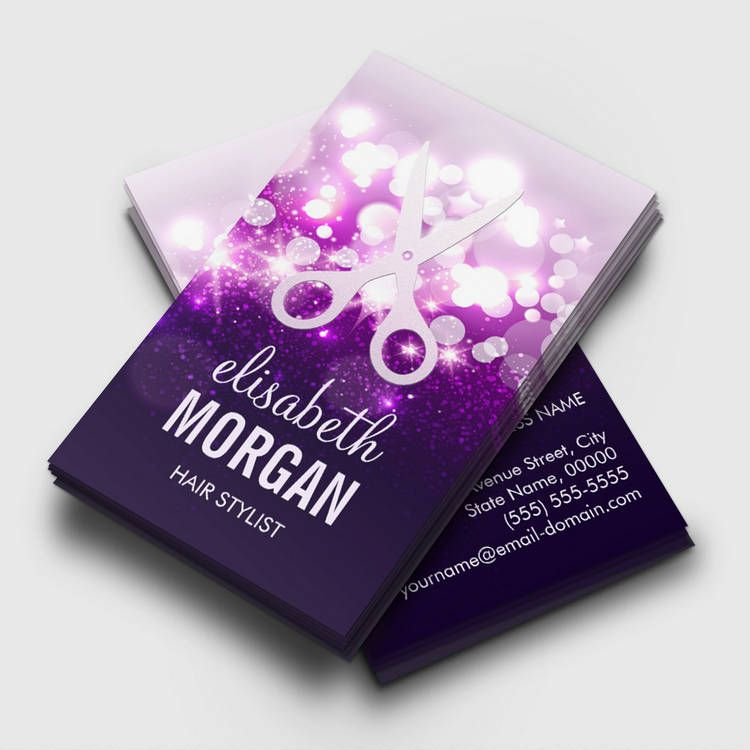 Purple Sparkly and Glitter Scissors - Hair Stylist Business Card ...