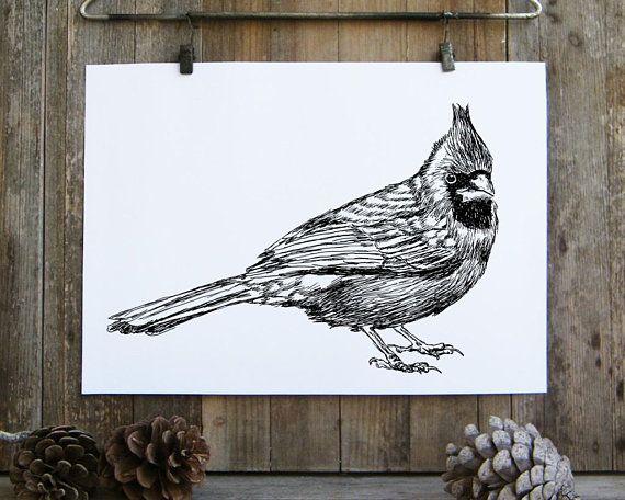 Cardinal Bird print, Black and white printable, Bird decor, Nature