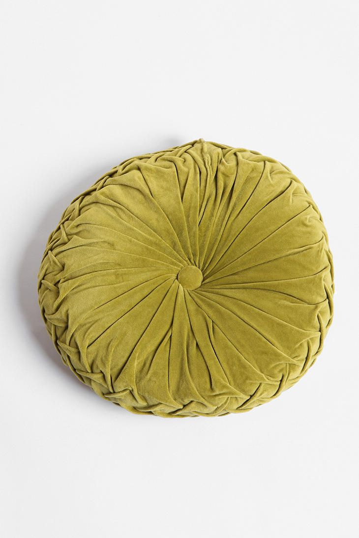 Round Velvet Pintuck Pillows Available In Teal Yellow