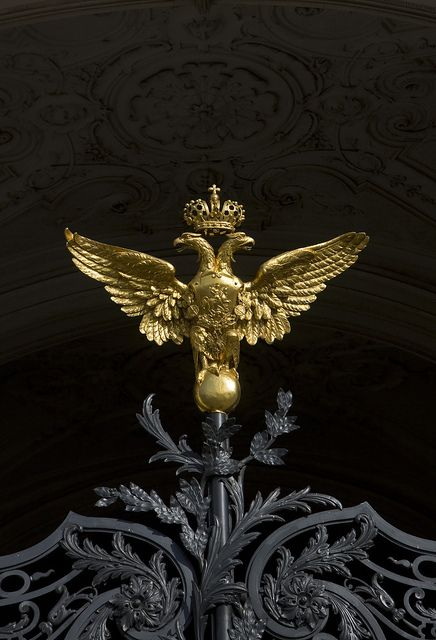 The double-headed Imperial Eagle of the Romanov Tsars, perched atop the main gate of the Winter Palace in St Petersburg.