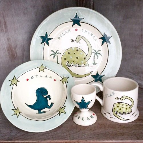 Dylan the Dinosaur children\u0027s breakfast set #kids #pottery #keepsake #gifts #dinnerware & Dylan the Dinosaur children\u0027s breakfast set #kids #pottery ...