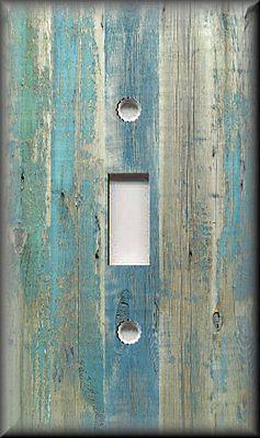 Light Switch Plate Cover Beach Aged Wood Image Blue Coastal Home Decor
