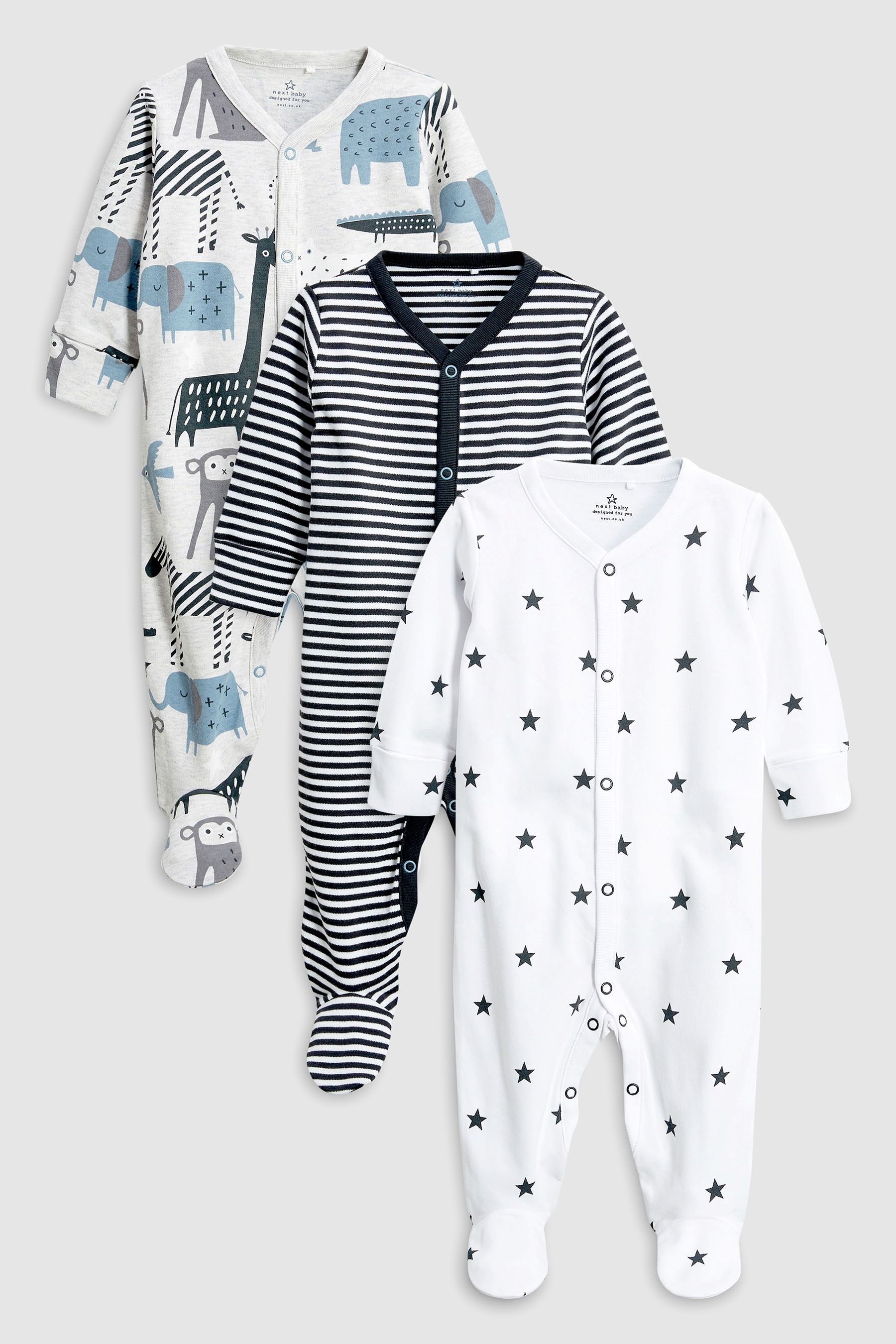 e861fe23c Boys Next Grey Blue Animal Sleepsuits Three Pack (0mths-2yrs ...